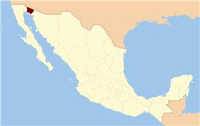 Map showing the location of Reserva de la Biosfera El Pinacatey Gran Desierto de Altar