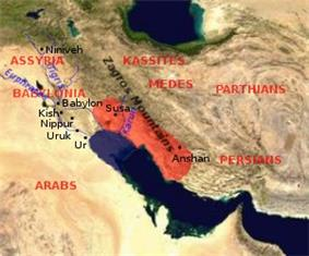 Map showing the area of the Elamite Empire (in red) and the neighboring areas. The approximate Bronze Age extension of the Persian Gulf is shown.