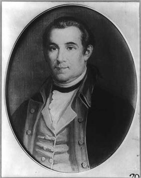 Black and white print of a young man in an 18th century military uniform