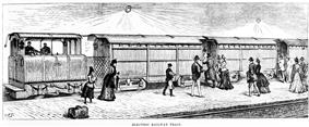 Illustration of a train of three carriages and a small locomotive waiting at a below ground platform; passengers in Victorian dress are boarding the train