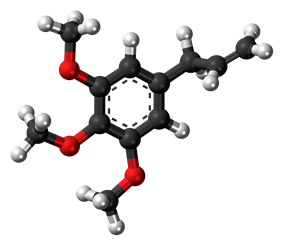 Ball-and-stick model of the elemicin molecule