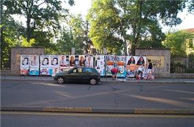 Electoral campaign posters in Milan, Italy