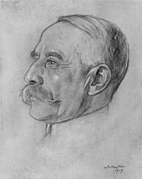 drawing of an ageing man in left profile; he has receding white hair and a large moustache