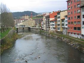 View of Downtown Elgoibar and Deba River