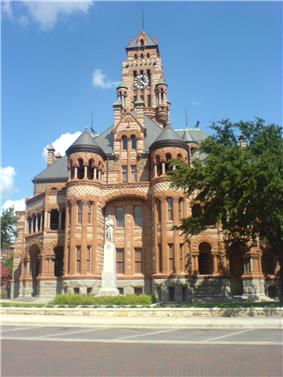 The uniquely designed Ellis County Courthouse in Waxahachie