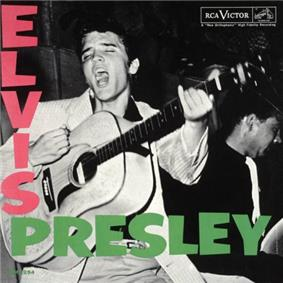 Album cover with photograph of Presley singing—head thrown back, eyes closed, mouth wide open—and about to strike a chord on his acoustic guitar. Another musician is behind him to the right, his instrument obscured. The word