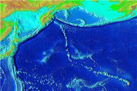 Elevation of the Pacific seafloor, showing the Hawaiian-Emperor seamount chain, including Koko Guyot above the prominent bend. The sharp