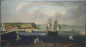 A three-masted sailing ship leaves a busy seaport while five men watch from the shore. The seaport is flanked by green hills beneath a cloudy sky.