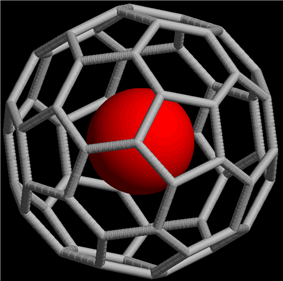 A skeletal structure of buckminsterfullerene with an extra atom in its center.