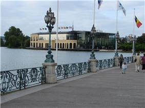 Boardwalk by the Lake of Enghien in the town centre. In the background is the Casino of Enghien-les-Bains