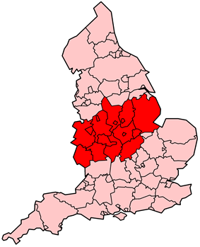 The Midlands in England