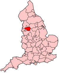 Map of England showing Greater Manchester