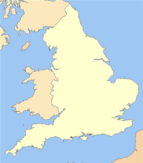 Map of England showing the locations of towns and battles.