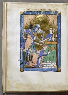 Miniature from an English psalter presenting a representation of the murder of Archbishop Becket