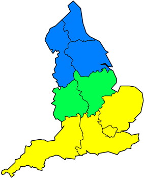 In this image, Southern England and East Anglia is shown as yellow, Northern England as blue, and The Midlands as green