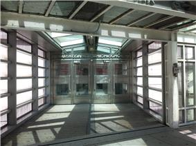Entrance from inside the pedestrian bridge at West and Chambers Street