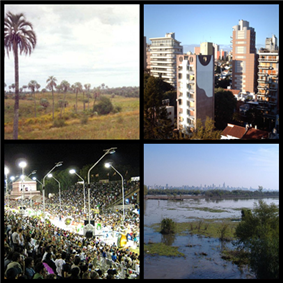 Clockwise from top: El Palmar National Park, Paraná, Carnival in Gualeguaychú, Paraná Delta with Rosario City in the background.
