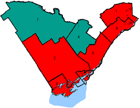 Map of the region's ridings in 2000. Colours show the result from the 2000 election
