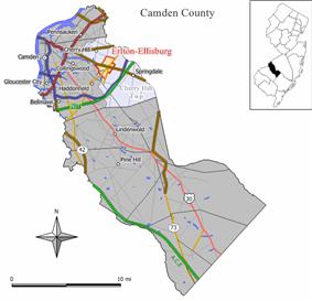 Map of Erlton-Ellisburg CDP in Camden County. Inset: Location of Camden County in New Jersey.