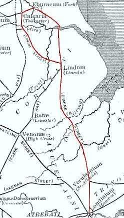 Map showing Ermine Street