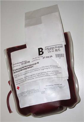 Plastic bag 0.5 - 0.7 liters containing packed red blood cells in citrate, phosphate, dextrose, and adenine (CPDA) solution