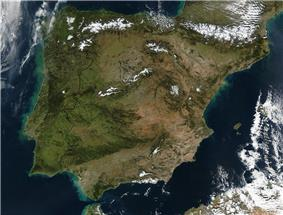 A map of the Iberian Peninsula and its location in Europe.