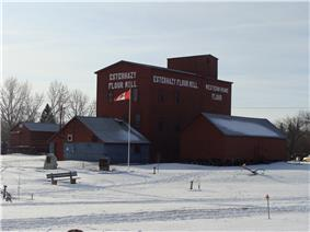 Exterior view of the flour mill in winter