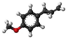 Ball-and-stick model of the estragole molecule