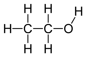 Full structural formula of ethanol