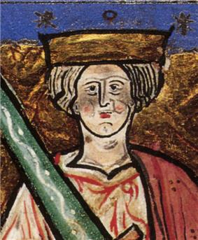 Image of Æthelred II with an oversize sword from the illuminated manuscript