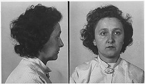 Side- and front-view portrait photographs of woman wearing white apparel. The woman has thick, black, curly hair and maintains an emotionless face