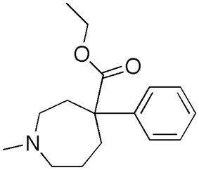 Chemical structure of Ethoheptazine.