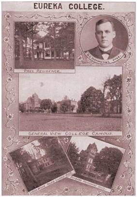 Collage of historical Eureka College images from 1904 with the presidential residence in the top left, President Hieronymus in the top right, a general view of the campus in the center, the Linda Woods Young Ladies Hall in the bottom left, and Burgess Memorial Hall in the bottom right.