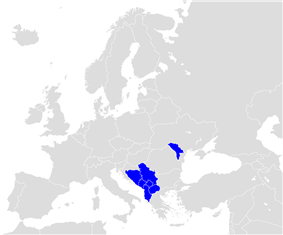 Map of Europe (grey) indicatingthe members of CEFTA (blue).