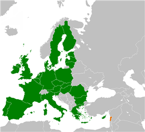 Map indicating locations of European Union and Lebanon