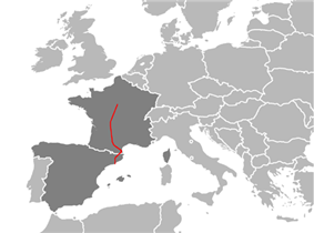 Map of the E09 within France and Spain.