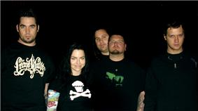 Five people (including one female, second from the left) all wearing black clothing.