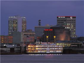 Downtown Evansville at nightfall