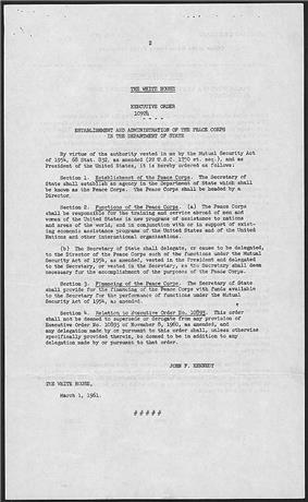 Physical text copy of the Executive Order establishing the Peace Corps