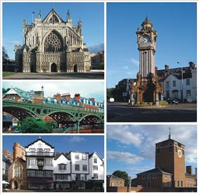 Clockwise: The Cathedral, The Clock Tower, Devon County Hall, Cathedral Close, The Iron Bridge.