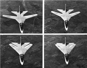 Black and white, four-photo series showing the sequence of a F-111A sweeping its wing for supersonic flight.