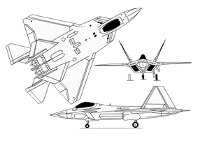 Lockheed YF-22 3-view diagram