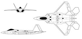 Orthographically projected diagram of the F-22A