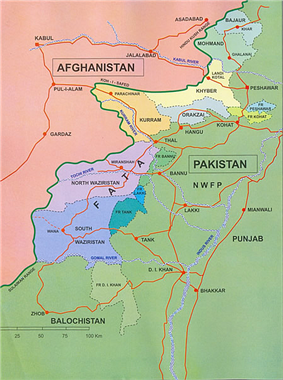 A map showing parts of Pakistan and Afghanistan, including the Federally Administered Tribal Areas that are located in Pakistan, adjacent to the south-east border of Afghanistan.
