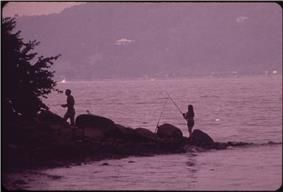 A Man Fishing in Croton Point Park on the Hudson River