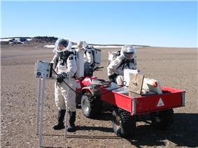 Nell Beedle, Emily MacDonald and Frank Eckardt of Crew 7 use a reflectance spectrometer during EVA on July 19, 2002.