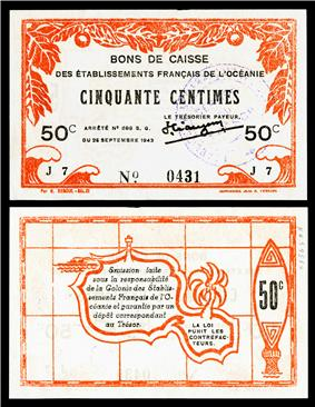 A 50 centimes World War II banknote (1943), printed in Papeete, depicting the outline of Tahiti (rev).