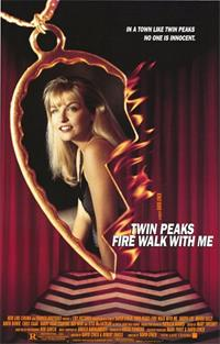 In the center of the poster is half of a golden heart-shaped necklace with a picture of a blonde woman (Laura Palmer) inside it. The necklace is on fire. In the background is red curtains and black-and-white zig-zag flooring.