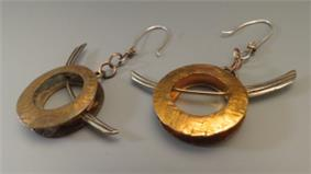 Fabricated Copper and Nugold Earrings