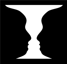 An ambiguous figure which can be perceived as either a vase or a pair of faces.